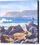 Seagull And Point Loma Canvas Print