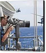 Seaman Apprentice Stands Watch Aboard Canvas Print by Stocktrek Images