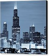 Sears Tower In Blue Canvas Print by Sebastian Musial