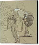 Seated Dancer Adjusting Her Shoes Canvas Print