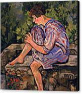 Seated Young Woman Canvas Print by Marie Clementine Valadon