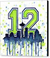 Seattle Seahawks 12th Man Art Canvas Print by Olga Shvartsur