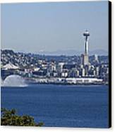 Seattle Space Needle And Fire Boat Canvas Print