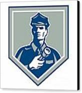 Security Guard Flashlight Shield Retro Canvas Print by Aloysius Patrimonio