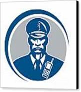 Security Guard Police Officer Radio Circle Canvas Print by Aloysius Patrimonio