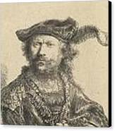 Self Portrait In A Velvet Cap With Plume Canvas Print by Rembrandt
