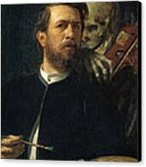 Self Portrait With Death Canvas Print by Arnold Bocklin