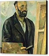 Self Portrait With Palette Canvas Print by Paul Cezanne
