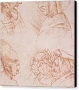 Seven Studies Of Grotesque Faces Canvas Print