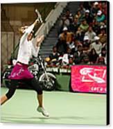 Sharapova At Qatar Open Canvas Print by Paul Cowan