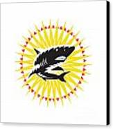 Shark Swimming Up Sunburst Woodcut Canvas Print