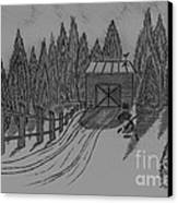 Shed In The Snow Canvas Print
