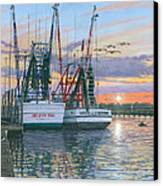 Shem Creek Shrimpers Charleston  Canvas Print by Richard Harpum