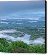 Shenandoah Evening Fog Canvas Print by Lara Ellis