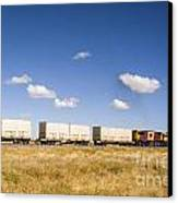 Shipping Containers On The Move By Train Canvas Print by Colin and Linda McKie