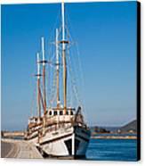 Ships At Lefkada Canvas Print