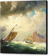 Ships On Stormy Ocean Canvas Print by Pg Reproductions