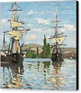Ships Riding On The Seine At Rouen Canvas Print by Claude Monet