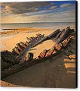Shipwreck On Cape Cod Beach Canvas Print by Dapixara Art