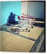 Shopping Trolleys  Canvas Print by Les Cunliffe