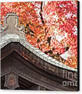 Shrine Roof And Autumn Leaves Arashiyama Kyoto Canvas Print by Colin and Linda McKie