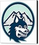 Siberian Husky Dog Head Mountain Retro Canvas Print by Aloysius Patrimonio