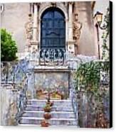 Sicilian Village Steps And Door Canvas Print by David Smith