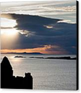 Silhouette Of Dunluce Castle Canvas Print by Semmick Photo