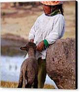Sillustani Girl With Hat And Lamb Canvas Print by RicardMN Photography