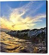 Silver Drops At Sunset Canvas Print
