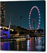Singapore Flyer At Night Canvas Print by Rick Piper Photography