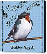 Singing Bird Birthday Card Canvas Print