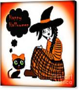 Sitting Halloween Witch Canvas Print by Eva Thomas