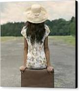 Sitting On A Suitcase Canvas Print by Joana Kruse