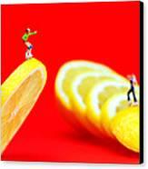 Skateboard Rolling On A Floating Lemon Slice Canvas Print by Paul Ge