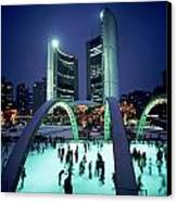 Skating In Nathan Phillips Square, City Canvas Print by Peter Mintz