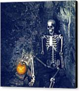 Skeleton With Jack O Lantern Canvas Print