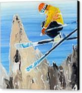 Skiing At Flegere Canvas Print by Sara Pendlebury