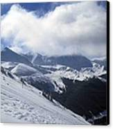 Skiing With A View Canvas Print by Fiona Kennard