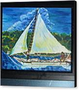 Skipjack Nathan Of Dorchester Famous Sailboat At Sea Canvas Print by Debbie Nester