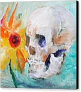 Skull And Sunflower Canvas Print