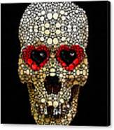Skull Art - Day Of The Dead 3 Stone Rock'd Canvas Print