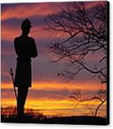 Sky Fire - 124th Ny Infantry Orange Blossoms-1a Sickles Ave Devils Den Sunset Autumn Gettysburg Canvas Print by Michael Mazaika