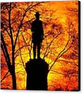 Sky Fire - Flames Of Battle 50th Pennsylvania Volunteer Infantry-a1 Sunset Antietam Canvas Print by Michael Mazaika