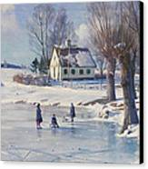 Sledging On A Frozen Pond Canvas Print
