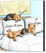 Sleeps With Yorkies Canvas Print