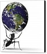 Small Ant Lifting Heavy Blue Earth Canvas Print