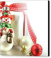 Small Christmas Ornament With Gift Canvas Print