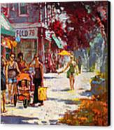 Small Talk In Elmwood Ave Canvas Print by Ylli Haruni