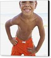 Smiling Boy On Beach Canvas Print